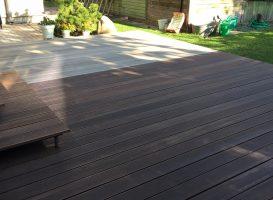 Egzotinės medienos terasa alyvavimo metu. Osmo alyva