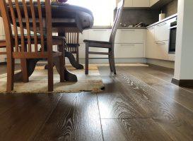 Grindys ir grindjuostės padengtos ta pačia alyvos spalva