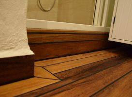 Pagaminta grindjuostė iš tiko medienos